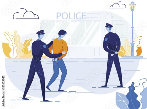 Valokuvatapetti Policemen Arrest Criminal Flat Vector Illustration