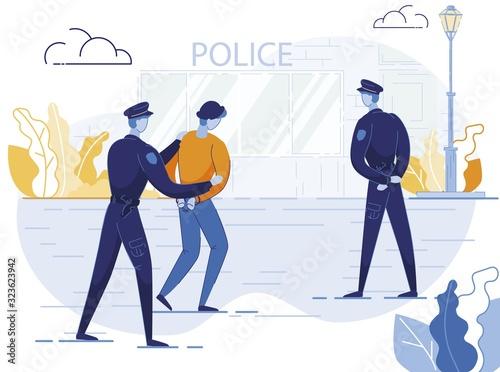 Canvas Print Policemen Arrest Criminal Flat Vector Illustration