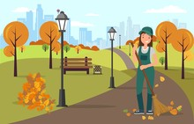 Woman Janitor Sweeping And Cleaning Road From Leaves With Broom In Hands Flat Cartoon Vector Illustration. Street Cleaner Character Wearing Hat And Uniform In Park. Autumn Season.