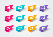 Vector Illustration Set Of Modern Flag Style Bullet Points. Retro Color Numbers 1 To 12.