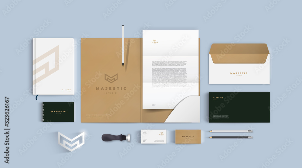 Fototapeta Stationery mockup vector set. Corporate identity premium branding design. Template for business and respectable company. Folder and A4 letter, visiting card and envelope based on minimal brown logo.