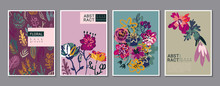 Vector Collection Of Trendy Creative Cards With Hand Drawn Floral Elements, Flowers And Palnts And Different Textures.