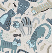 Vector seamless pattern with cute cats in simple flat style.