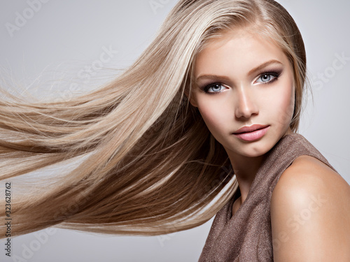 Fotografie, Obraz Beautiful young woman with long straight white hair