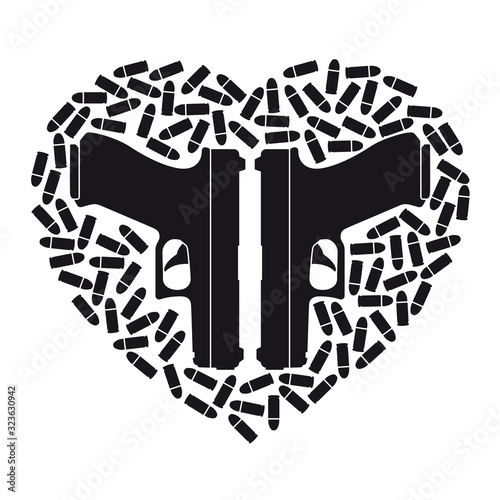 Fotografie, Tablou Vector black icon heart made up of two weapons and scattered bullets