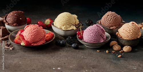 Fototapeta Scopes of various ice cream in bowls obraz