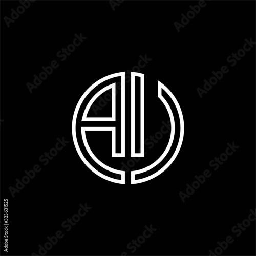 AU monogram logo circle ribbon style outline design template Wallpaper Mural
