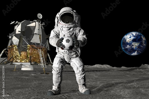 Fototapeta 3d rendering Astronaut on the moon playing football