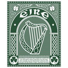 Design With The Ireland Harp Musical Instrument And Poems Dear Harp Of My Country By Thomas Moore In Vintage, Retro Style, Illustration On The Theme Of St. Patricks Day Celebration