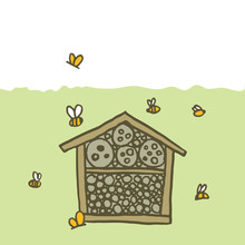 Bee Hotel Insect Butterfly Bug House, Wooden Object Produced To Mimic The Solitary Bees Natural Breeding Nests. Doodle By Hand Green Brown White Background. Applicable For Banners Poster. Vector