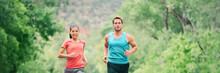 Running Couple On Trail Run In...