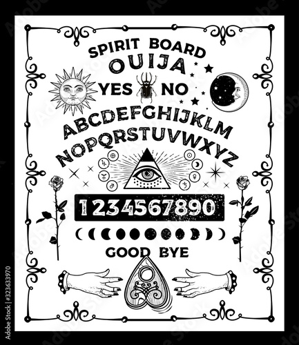 Ouija Board with the skull. Occultism Set. Vector Illustration. Fototapet