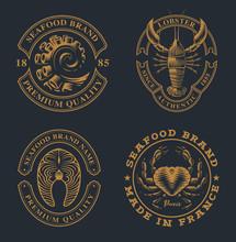 Set Of Vintage Badges For Seaf...