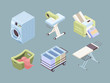 Laundry isometric. Fabric bubbles clean service towels dirty spot laundromat soap vector collection. Laundry and laundromat electrical, dirty fabric and housework equipment illustration