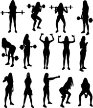 Silhouette Set Of Gym Fitness ...