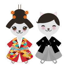 Japanese Boy And Girl In Natio...