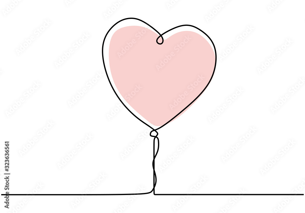 Heart balloon one line drawing. Continuous single hand drawn. Minimalist design of romantic love symbol.