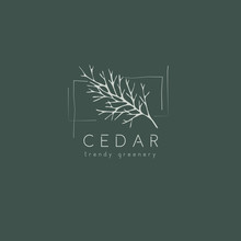 Cedar Logo And Branch. Hand Drawn Wedding Herb, Plant And Monogram With Elegant Leaves For Invitation Save The Date Card Design. Botanical Rustic Trendy Greenery