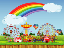 Circus Scene With Rainbow In T...