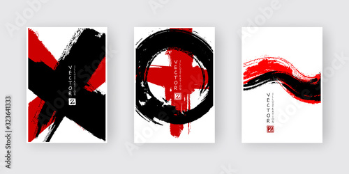Banners with abstract black red ink wash painting in East Asian style.