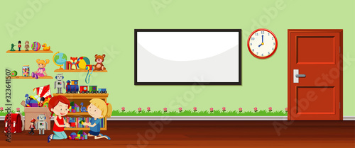 Background scene with whiteboard and toys #323641507
