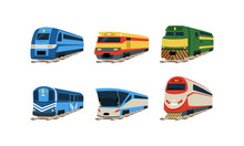 Train Locomotives Collection, Railway Carriages, Evolution Of Trains Concept Vector Illustration