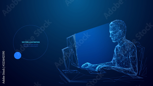 Fotografía Computer technology low poly wireframe banner vector template