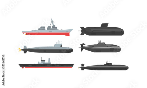 Canvas Naval Combat Ships and Submarines Collection, Military Boats, Frigates, Battlesh