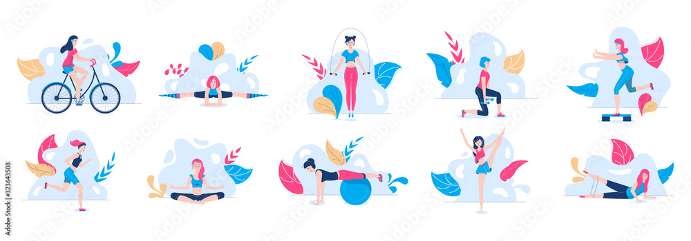 Fototapeta Active woman sport activities for health set with girl doing fitness, yoga, riding the bicycle, jogging, jumping vector illustration. Sportive women workout healthy active lifestyle.