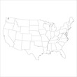 Blank similar usa map isolated on a white background. Vector template for website, design, cover, infographic.