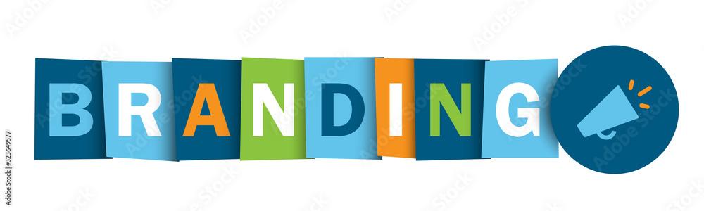 Fototapeta BRANDING colorful vector typography banner with megaphone symbol