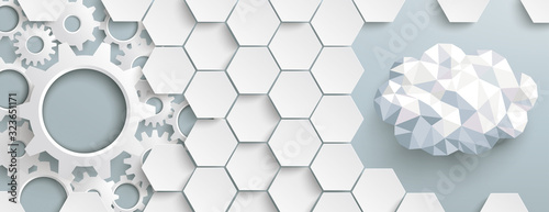 Fototapety, obrazy: White Hexagon Structure Gears LowPoly Cloud Header