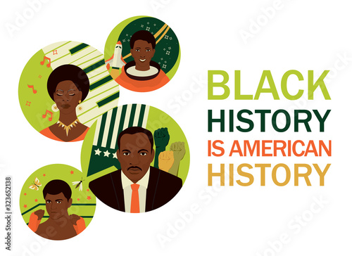 Photo Black history month banner. Famous Afro American people