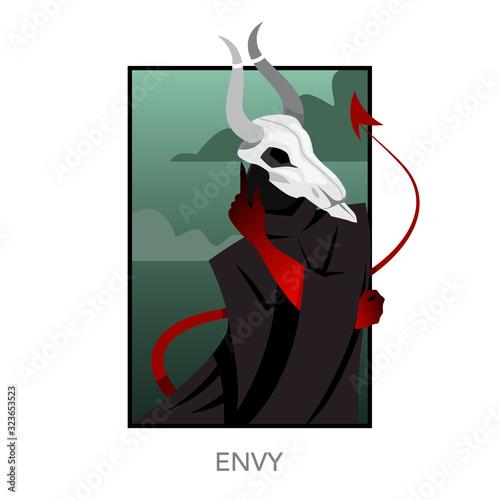 Slika na platnu Seven deadly sins concept. Christian bible character with horn