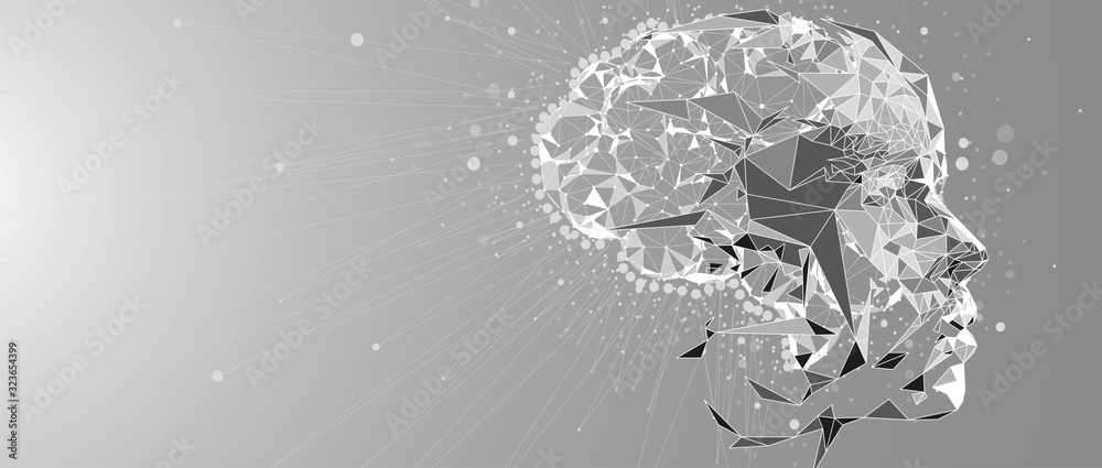 Fototapeta Abstract human brain. Artificial intelligence technology. Science background