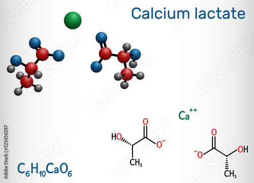 Photo Calcium lactate, C6H10CaO6, lactate anion molecule