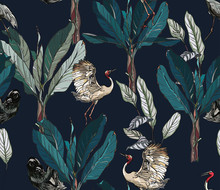 Seamless Pattern Dancing Cranes And Sloth Wildlife Animals In Tropical Jungle Plants Exotic Rainforest On Dark Dramatic Background
