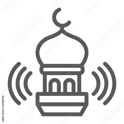 Photo Adhan call line icon, ramadan and religion, mosque sign, vector graphics, a linear pattern on a white background, eps 10