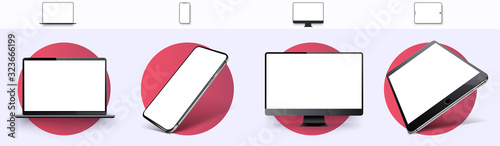 Fotomural Realistic set of Monitor, laptop, tablet, smartphone, rotated position