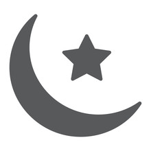 Islamic Crescent Glyph Icon, Ramadan And Islam, Muslim Sign, Vector Graphics, A Solid Pattern On A White Background, Eps 10.