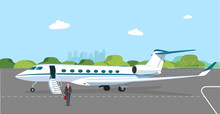 Business Jet With An Open Passenger Door And A Ramp On The Take-off Field. Businessman Got Off The Plane. Vector Flat Style Illustration.