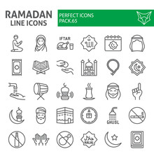 Ramadan Line Icon Set, Islamic...