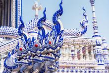 Chanthaburi, Thailand - February, 01,  2020 : Blue Temple At Wat Pak Nam Khaem Nu The New Landmark Of Chanthaburi Located At Tha Mai District