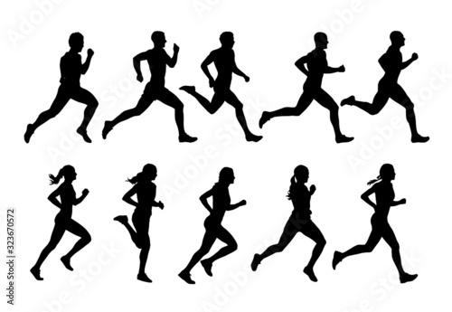 Running people, vector runners, group of isolated silhouettes, side view Fototapeta