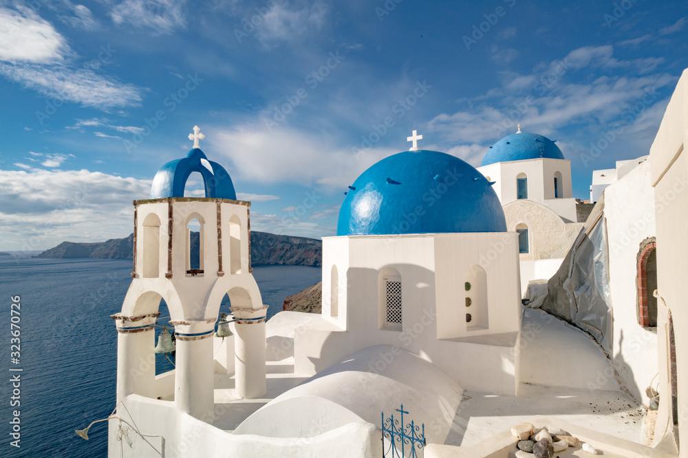 Fototapeta Orthodox Church in Oia, Santorini Island, Greece