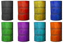Multiple Colors Old Oil Barrel...