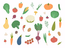 Vector Vegetables Icons Set. C...