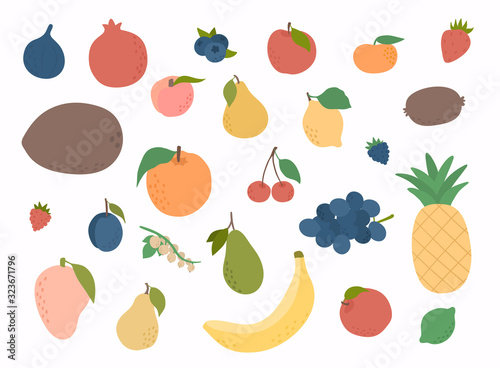 Set of colorful hand draw fruits Fotobehang