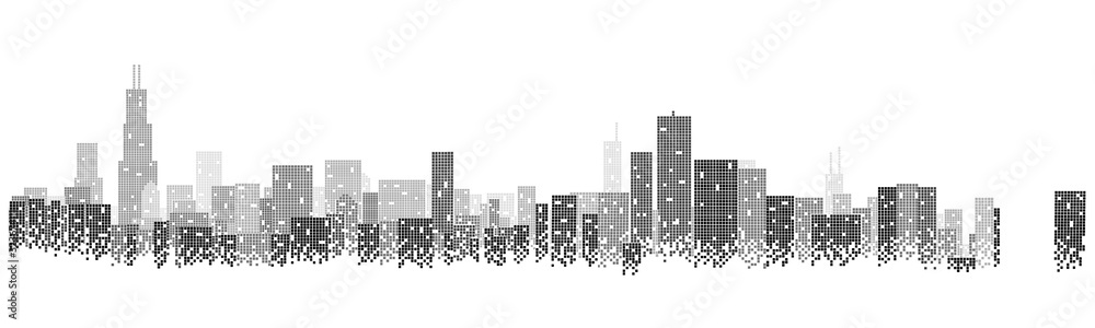Building and urban illustration, urban scene at night. Chicago city