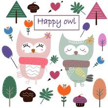 Cute Owl Cartoon Element Set